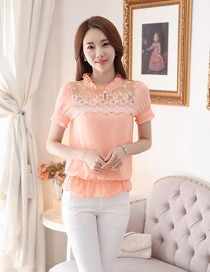 Áo ren hoa nổi cổ nhún màu hồng - B3140