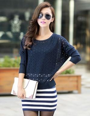 Sét đầm len sọc màu xanh đen - B3145