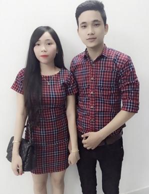 Sét áo váy cặp caro màu đỏ - B3160