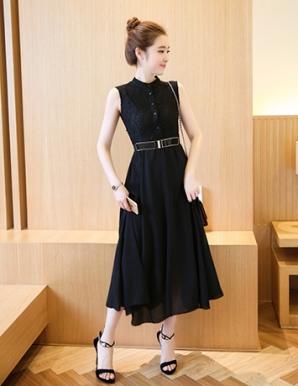 Đầm vintage phối ren màu đen - B3163