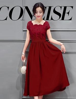 Đầm dự tiệc phối ren hoa tygon màu đỏ - B3166