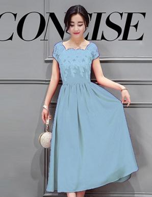 Đầm dự tiệc phối ren hoa tygon màu xanh lơ - B3167