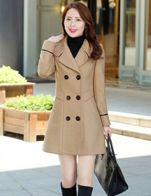 Áo khoác dạ màu nâu cổ cách điệu - B3337