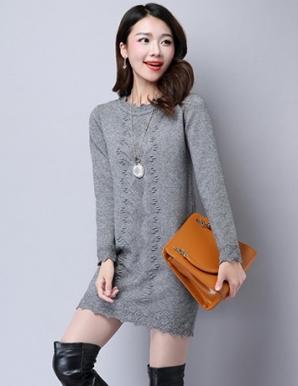 Đầm len suông màu xám lai gợn sóng - B3345