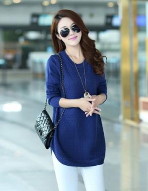 Áo len form dài màu xanh vạt bầu - B3349