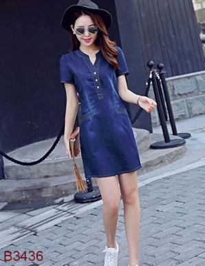Đầm jean dạo phố phối 2 túi - B3436