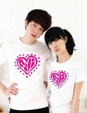 Áo thun cặp in hình trái tim màu hồng - B3448