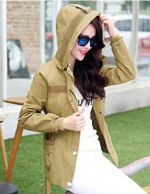 Áo khoác kaki nữ màu kem phối nón - B3475