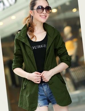 Áo khoác nữ form dài phối nón thời trang màu rêu - B3482