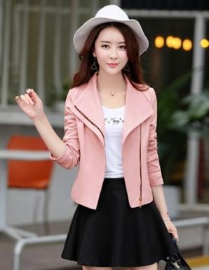 Áo khoác dạ phối dây kéo cách điệu màu hồng - B3512