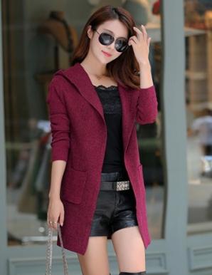Áo khoác len phối nón cách điệu màu tím - B3519