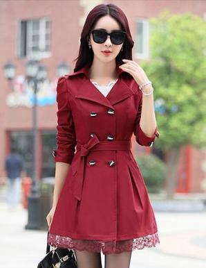 Áo khoác kaki form dài màu đỏ phối ren lai - B3531