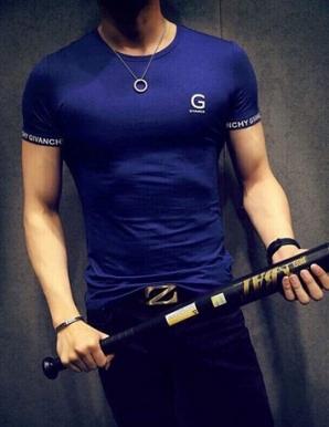 Áo thun nam tay ngắn in chữ G màu xanh - B3554