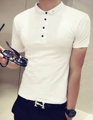 Áo thun nam tay ngắn cổ thêu chữ M màu trắng - B3564
