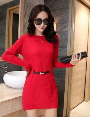 Đầm len tay dài màu đỏ kèm thắt lưng - B3586
