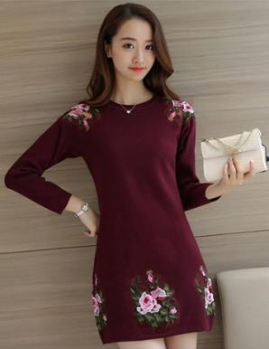 Đầm len hoa hồng màu đỏ - B3590