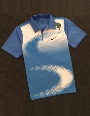 Áo thun thể thao cổ bẻ Nike màu xanh dương - B3604