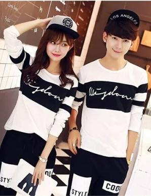 Áo thun cặp tay dài màu trắng phối đen - B3620