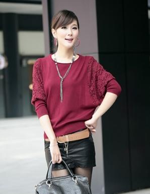 Áo len tay phối ren màu đỏ - B3647
