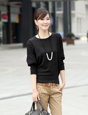 Áo len tay phối ren màu đen - B3648