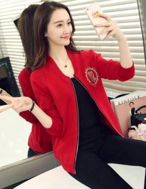 Áo khoác len in logo màu đỏ - B3662