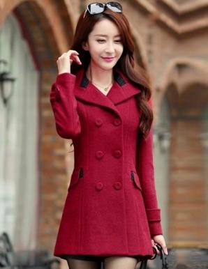 Áo khoác dạ phối nút thời trang màu đỏ - B3680