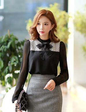 Áo kiểu nữ phối ren thắt nơ màu đen - B3687
