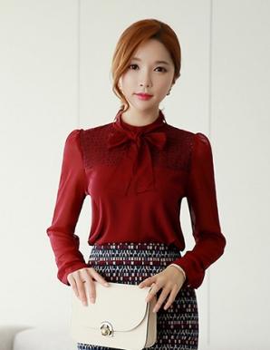 Áo kiểu nữ phối ren thắt nơ màu đỏ - B3688