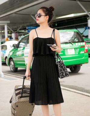 Đầm voan dạo phố xếp ly thời trang - B3694