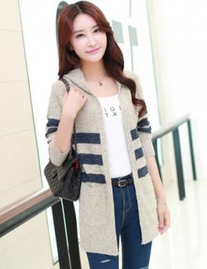 Áo khoác len form dài kẻ sọc ngang phối nón - B3707