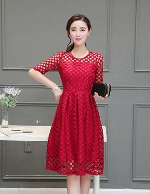 Đầm ren xòe tay lỡ màu đỏ - B3723
