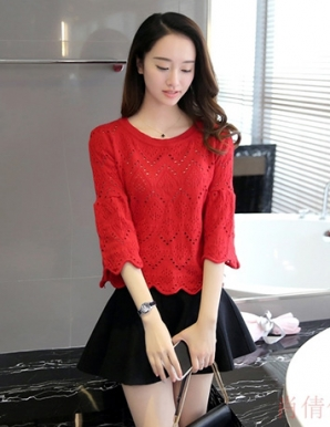 Áo len gợn sóng màu đỏ - B3731