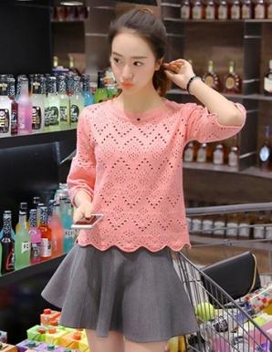 Áo len gợn sóng màu hồng - B3732
