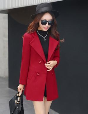Áo khoác dạ phối nón màu đỏ - B3747