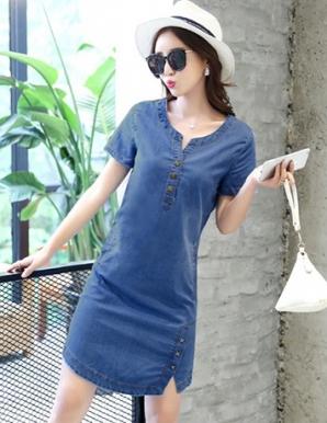 Đầm jean suông xẻ lai cách điệu - B3749