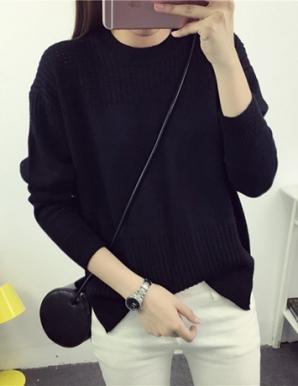 Áo len form rộng xẻ tà màu đen - B3782