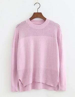 Áo len form rộng xẻ tà màu hồng - B3787