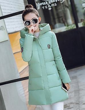 Áo phao form dài màu xanh ngọc phối nón - B3792