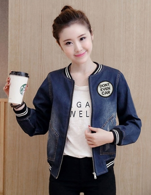 Áo khoác jean nữ phối logo thời trang - B3806