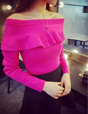 Áo len ôm cổ nhún bèo màu hồng - B3814