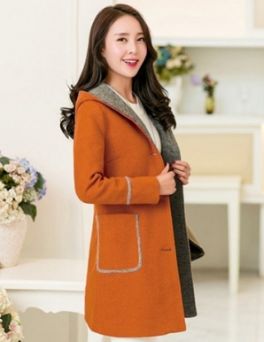 Áo khoác dạ màu nâu phối nón đính lông - B3820