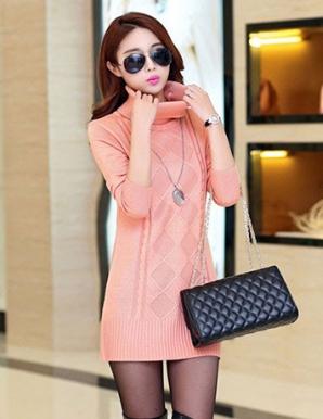 Đầm len thu đông cổ lọ họa tiết nổi màu hồng - B3857