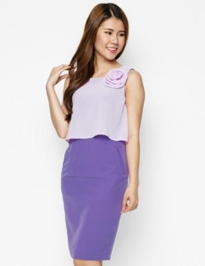 Đầm công sở màu tím phối hoa - B3898