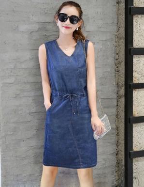 Đầm denim dạo phố cột nơ eo thời trang - B3936