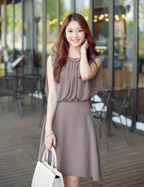 Đầm xòe chiffon màu xám dún eo - B3970