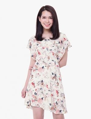 Đầm xòe dạo phố họa tiết hoa màu kem - B3974