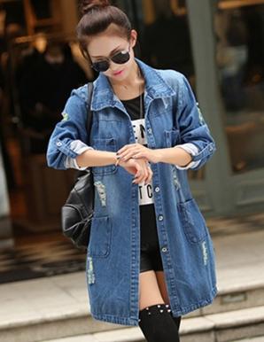 Áo khoác jean form dài cá tính - B3975