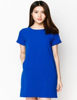Đầm suông túi mổ cao cấp màu xanh lam - B3986
