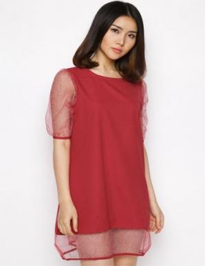 Đầm suông cá tính phối voal màu đỏ- B4073