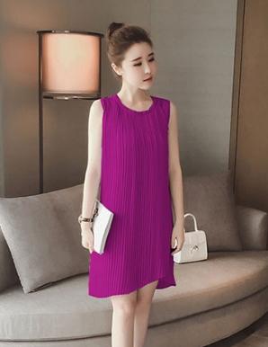 Đầm suông hai lớp xếp ly màu tím - B4144